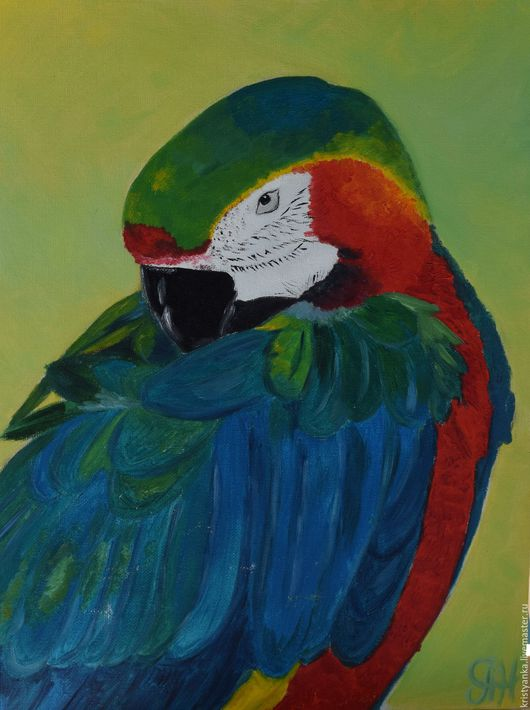 """Животные ручной работы. Ярмарка Мастеров - ручная работа. Купить Картина маслом,  птица """"Попугай"""", авторская работа, холст. Handmade."""