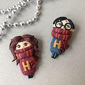 Брошь-булавка ручной работы. Ярмарка Мастеров - ручная работа Сет брошек Гарри Поттер и Гермиона из полимерной глины Harry Potter. Handmade.
