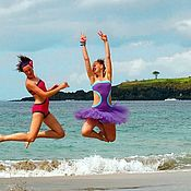 Одежда handmade. Livemaster - original item swimsuit with shorts violet with turquoise and grey with violet. Handmade.