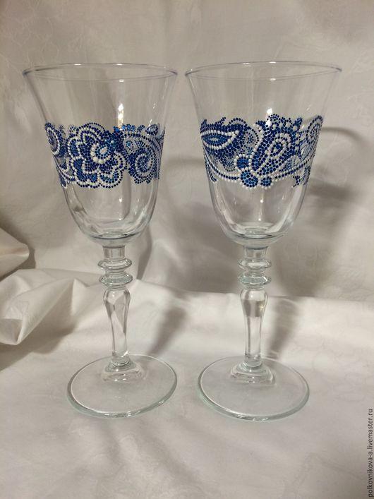 """Бокалы, стаканы ручной работы. Ярмарка Мастеров - ручная работа. Купить Бокал """"Гжель"""". Handmade. Гжель, для вина, для женщин, цветы"""