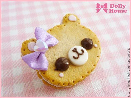 """Броши ручной работы. Ярмарка Мастеров - ручная работа. Купить Брошка """"Biscuit Bear"""". Handmade. Dolly house, сладости из пластики"""