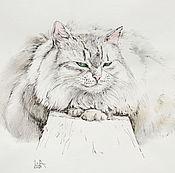 Картины и панно ручной работы. Ярмарка Мастеров - ручная работа картина Кошка Жужа - пушистая кошка, котенок, кот по фото на заказ. Handmade.