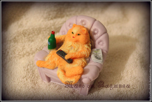 Мыло ручной работы. Ярмарка Мастеров - ручная работа. Купить Мыло Хозяин дивана. Handmade. Разноцветный, веселый кот
