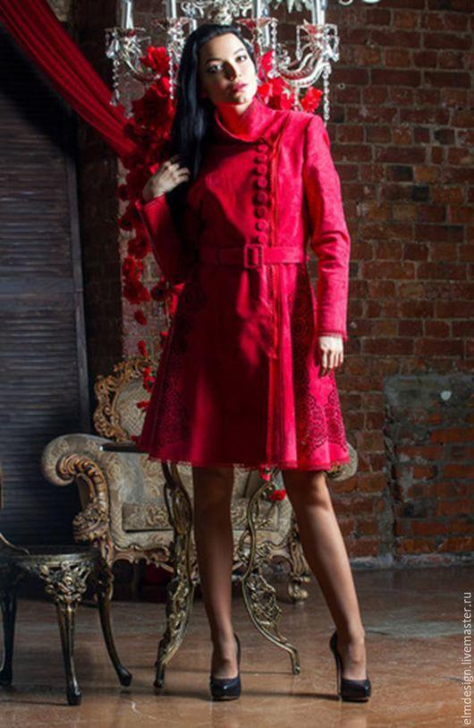 Верхняя одежда ручной работы. Ярмарка Мастеров - ручная работа. Купить Пальто красное!Пальто на весну!. Handmade. Ярко-красный