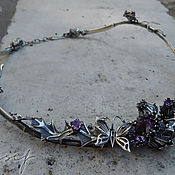 Украшения handmade. Livemaster - original item Necklace: Thistle with a grasshopper and a butterfly. Handmade.