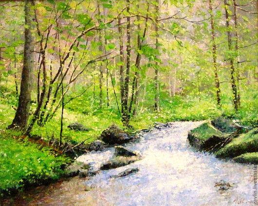 Пейзаж ручной работы. Ярмарка Мастеров - ручная работа. Купить Весна. Handmade. Пейзаж, весна, река, пейзаж с водой