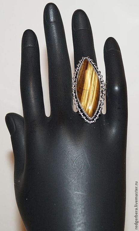 """Кольца ручной работы. Ярмарка Мастеров - ручная работа. Купить Крупное кольцо """"Илона"""" натуральным тигровым глазом. Handmade."""