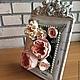 Цветы ручной работы. Ярмарка Мастеров - ручная работа. Купить Цветы в фоторамке. Handmade. Роза, свадебное украшение, подарок женщине