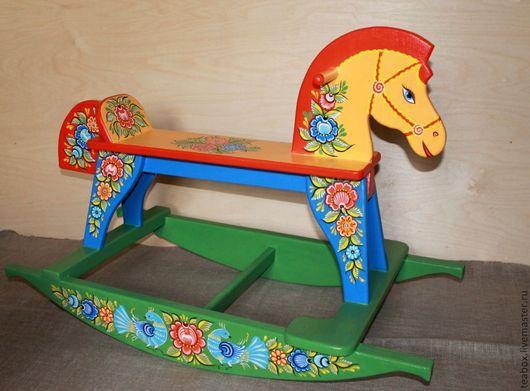 Развивающие игрушки ручной работы. Ярмарка Мастеров - ручная работа. Купить Игрушка лошадка-качалка деревянная расписная. Handmade. Игрушка