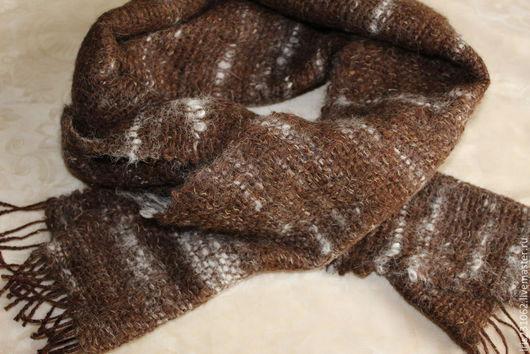 Шарфы и шарфики ручной работы. Ярмарка Мастеров - ручная работа. Купить домотканый шарф альпака. Handmade. Коричневый, шарф из альпаки