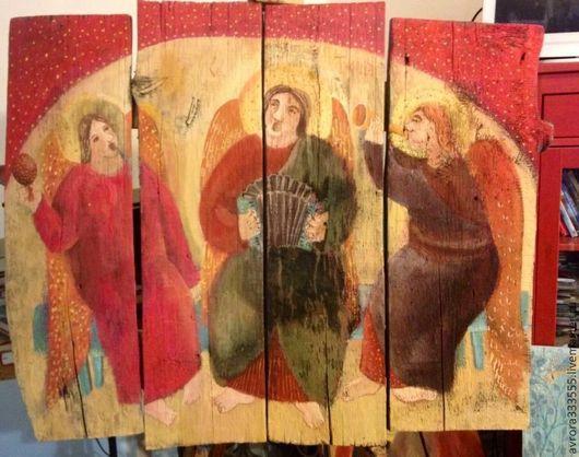 Фантазийные сюжеты ручной работы. Ярмарка Мастеров - ручная работа. Купить картина в Раю,на старом дереве. Handmade. Картина