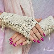Аксессуары handmade. Livemaster - original item Knitted linen fingerless gloves