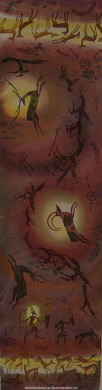 """Шарфы и шарфики ручной работы. Ярмарка Мастеров - ручная работа. Купить Шарф """"Каменный век"""". Handmade. Шарф, звери, охотники"""
