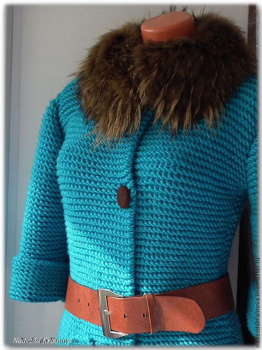 """Верхняя одежда ручной работы. Ярмарка Мастеров - ручная работа. Купить Пальто """"Индиго"""". Handmade. Бирюзовый, акрил"""