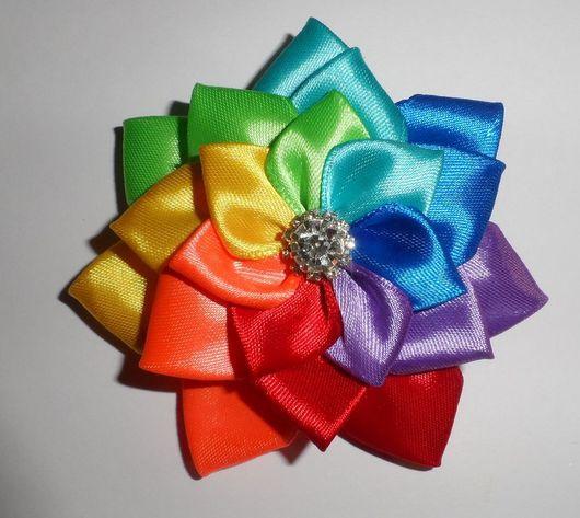 Заколки ручной работы. Ярмарка Мастеров - ручная работа. Купить Комплект заколок радуга (№2). Handmade. Разноцветный, атласные цветы