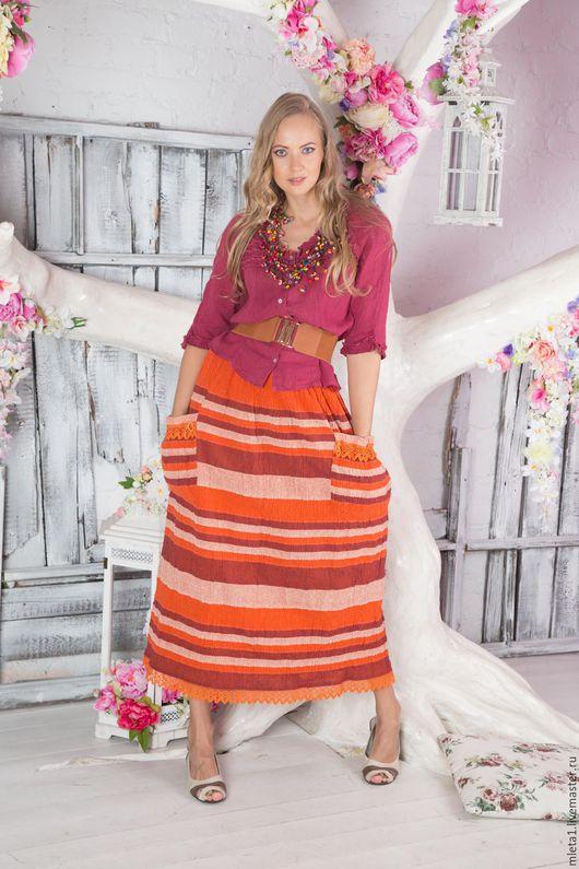 Юбки ручной работы. Ярмарка Мастеров - ручная работа. Купить юбка оранжевая с кружевом. Handmade. Оранжевый, карманы