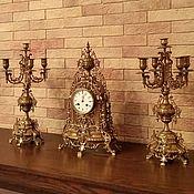 Винтаж ручной работы. Ярмарка Мастеров - ручная работа СКИДКА!!! 100 ЛЕТ!!! Великолепные антикварные часы с канделябрами!. Handmade.