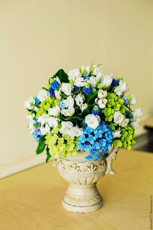 Интерьерные композиции ручной работы. Ярмарка Мастеров - ручная работа. Купить Весенний букет. Handmade. Голубой, цветы