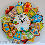 Для дома и интерьера handmade. Livemaster - original item Wall clock glass fusing