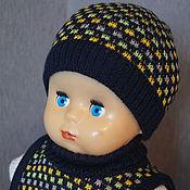 Аксессуары handmade. Livemaster - original item Beanie and bib wool blend yarn