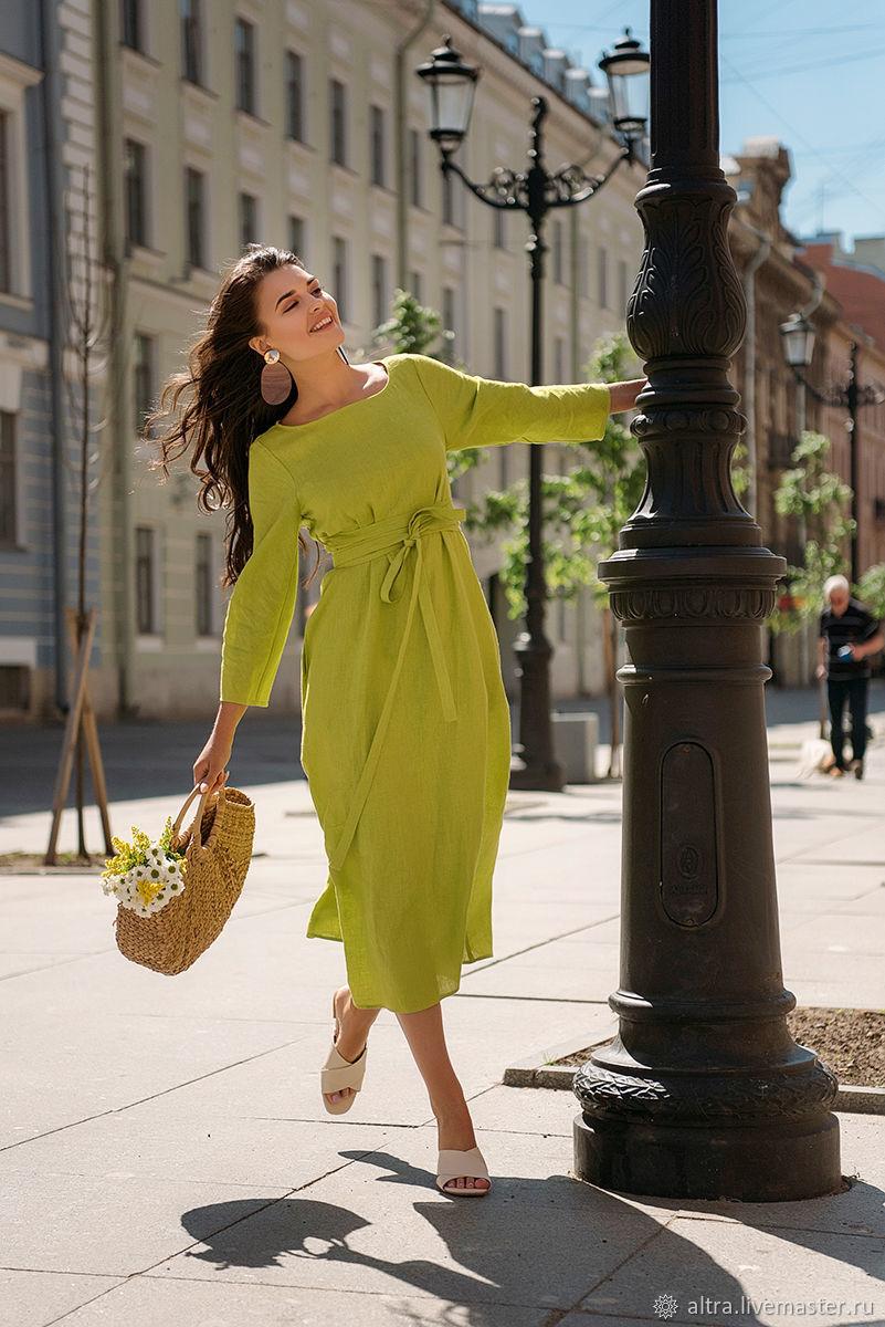 """Льняное платье """"Красота простых линий"""" (лайм), Платья, Санкт-Петербург,  Фото №1"""