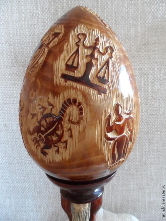 """Яйца ручной работы. Ярмарка Мастеров - ручная работа. Купить Яйцо """"Знаки зодиака"""". Handmade. Золотой, знаки зодиака, дерево"""