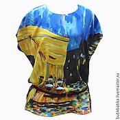Одежда ручной работы. Ярмарка Мастеров - ручная работа Шелковый топ батик Кафе Ван Гог. Handmade.