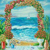 Картины и панно ручной работы. Ярмарка Мастеров - ручная работа Цветочная арка на пляже. Картина маслом. Handmade.