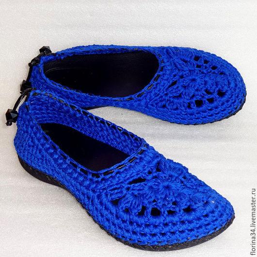 Обувь ручной работы. Ярмарка Мастеров - ручная работа. Купить Балетки вязаные Яркий контекст, синий,  р.37.5, хлопок. Handmade.