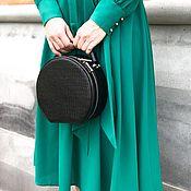 Сумки и аксессуары handmade. Livemaster - original item Black round genuine leather bag with reptile trim. Handmade.