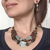 Украшения handmade. Livemaster - original item jewelry set. Copper-brown with blue.. Handmade.