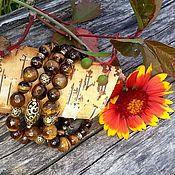 """Украшения ручной работы. Ярмарка Мастеров - ручная работа """"Осенний вальс"""" Браслет с тигровым глазом. Handmade."""