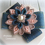 Работы для детей, handmade. Livemaster - original item Denim hair elastics the enchantress in the technique of kanzashi. Handmade.
