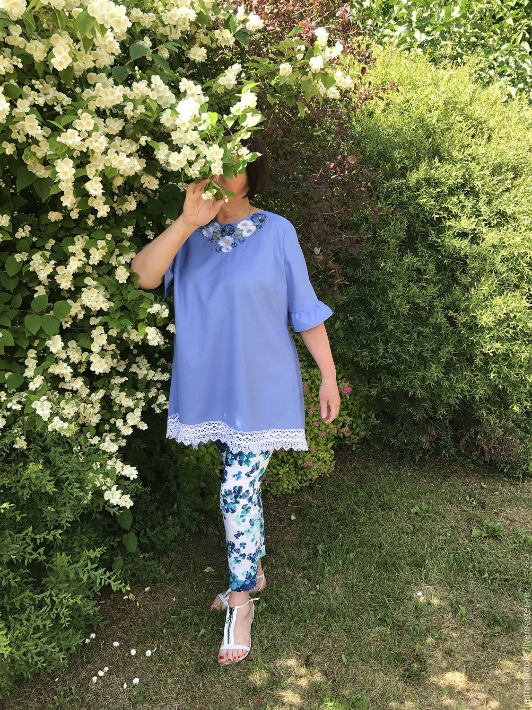 tunic: Linen tunic with embroidery ' Wild flowers', Tunics, Liepaja,  Фото №1