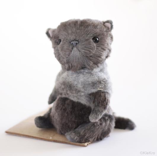 Мишки Тедди ручной работы. Ярмарка Мастеров - ручная работа. Купить Котик Найденыш. Handmade. Серый, котенок, вискоза. Клетчатый Крокодил.