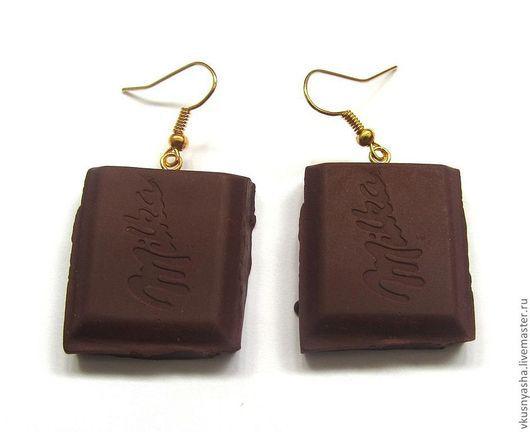 """Серьги ручной работы. Ярмарка Мастеров - ручная работа. Купить Серьги шоколадки """"Милка"""" из полимерной глины. Handmade. Коричневый, шоколадка"""