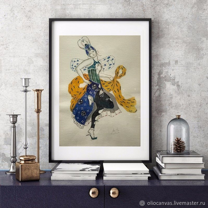Painting with a dancing girl 'Burlesque'. 25h35cm, Pictures, St. Petersburg,  Фото №1
