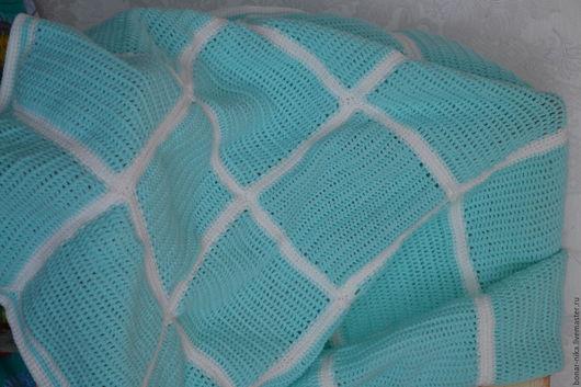 Текстиль, ковры ручной работы. Ярмарка Мастеров - ручная работа. Купить Пледик крючком. Handmade. Бирюзовый, плед для малыша, крючок