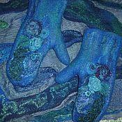 Аксессуары ручной работы. Ярмарка Мастеров - ручная работа валяные варежки Тайна сине-зелёного. Handmade.