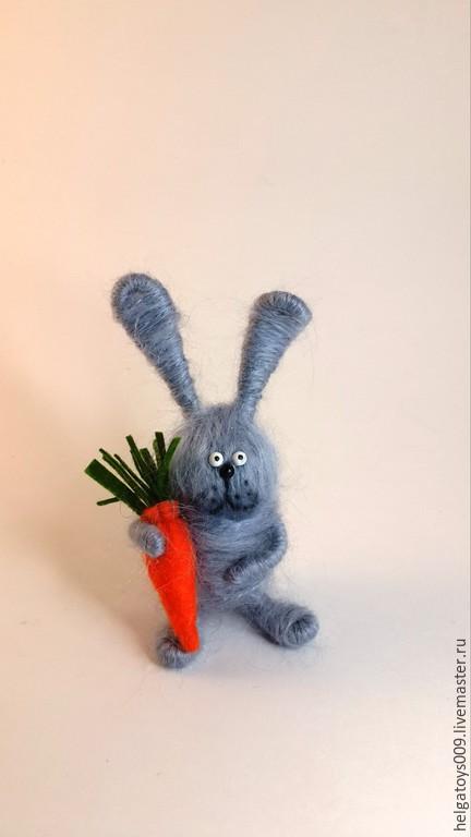 Куклы и игрушки ручной работы. Ярмарка Мастеров - ручная работа. Купить Кролик с морковкой, заяц. Handmade. Серый, кролик игрушка