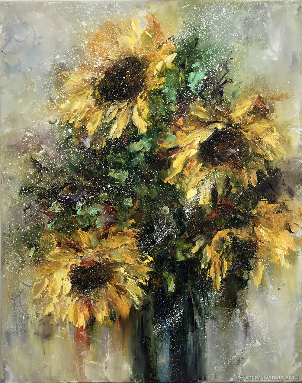 Painting sunflowers, oil painting, Pictures, Asha,  Фото №1