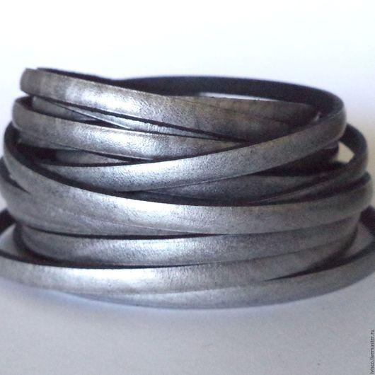 Для украшений ручной работы. Ярмарка Мастеров - ручная работа. Купить Кожаный шнур 5х2мм  темный серебряный. Handmade.