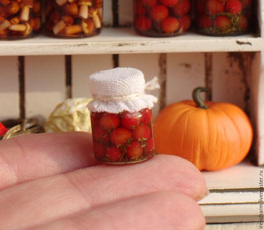 Еда ручной работы. Ярмарка Мастеров - ручная работа. Купить Консервированные овощи в баночках.. Handmade. Комбинированный, кукольная миниатюра, еда