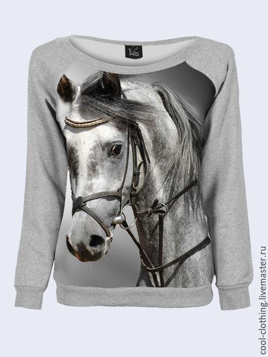"""Кофты и свитера ручной работы. Ярмарка Мастеров - ручная работа. Купить Трикотажный свитшот на одно плечо """"Лошадь"""". Handmade. Разноцветный"""