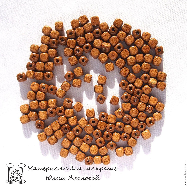 Бусины деревянные кубики 6 мм светло-коричневые 50 штук, Бусины, Нижний Новгород,  Фото №1