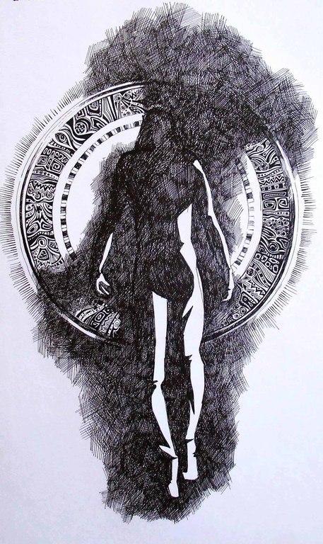 Символизм ручной работы. Ярмарка Мастеров - ручная работа. Купить _выбор шага_. Handmade. Чёрно-белый, выбор, шаг, мгновение