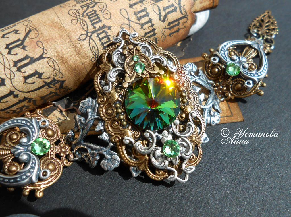 Стимпанк ручной работы. Ярмарка Мастеров - ручная работа. Купить Стимпанк браслет, браслет в стиле стимпанк,винтаж/ Steampunk. Handmade.