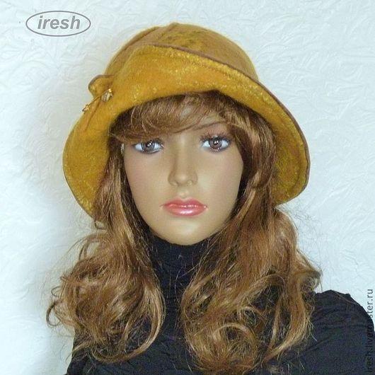 """Шляпы ручной работы. Ярмарка Мастеров - ручная работа. Купить Валяная шляпа """"Дыхание осени"""" горчичный коричневый жёлтый.. Handmade."""