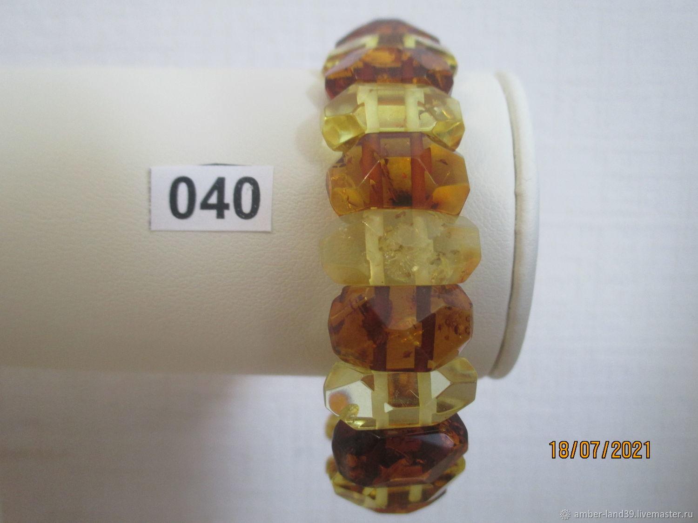 Браслет янтарный граненый овальный разноцветный 2, Браслет из бусин, Калининград,  Фото №1