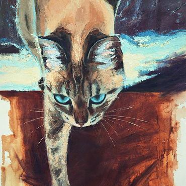 """Картины и панно ручной работы. Ярмарка Мастеров - ручная работа Картина масло холст """"Кот"""" картина маслом. Handmade."""